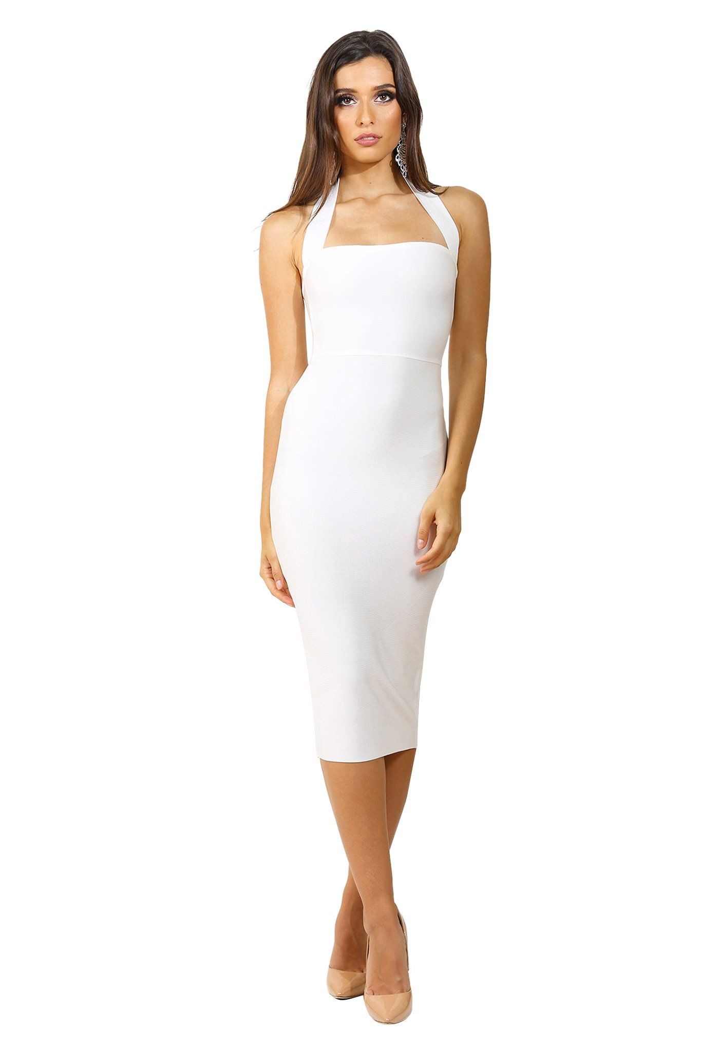 White sleeveless midi length bandage dress with wide halter-neck straps and straight open neckline