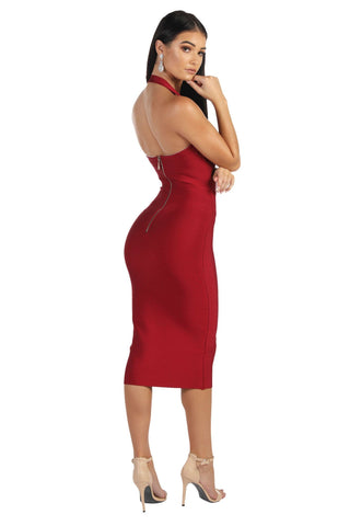 Beverly Halter Midi Dress - Wine Red