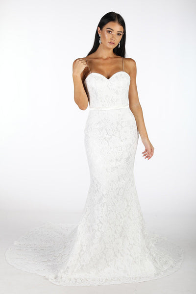 Bianca Sweetheart Neck Lace Mermaid Gown - White