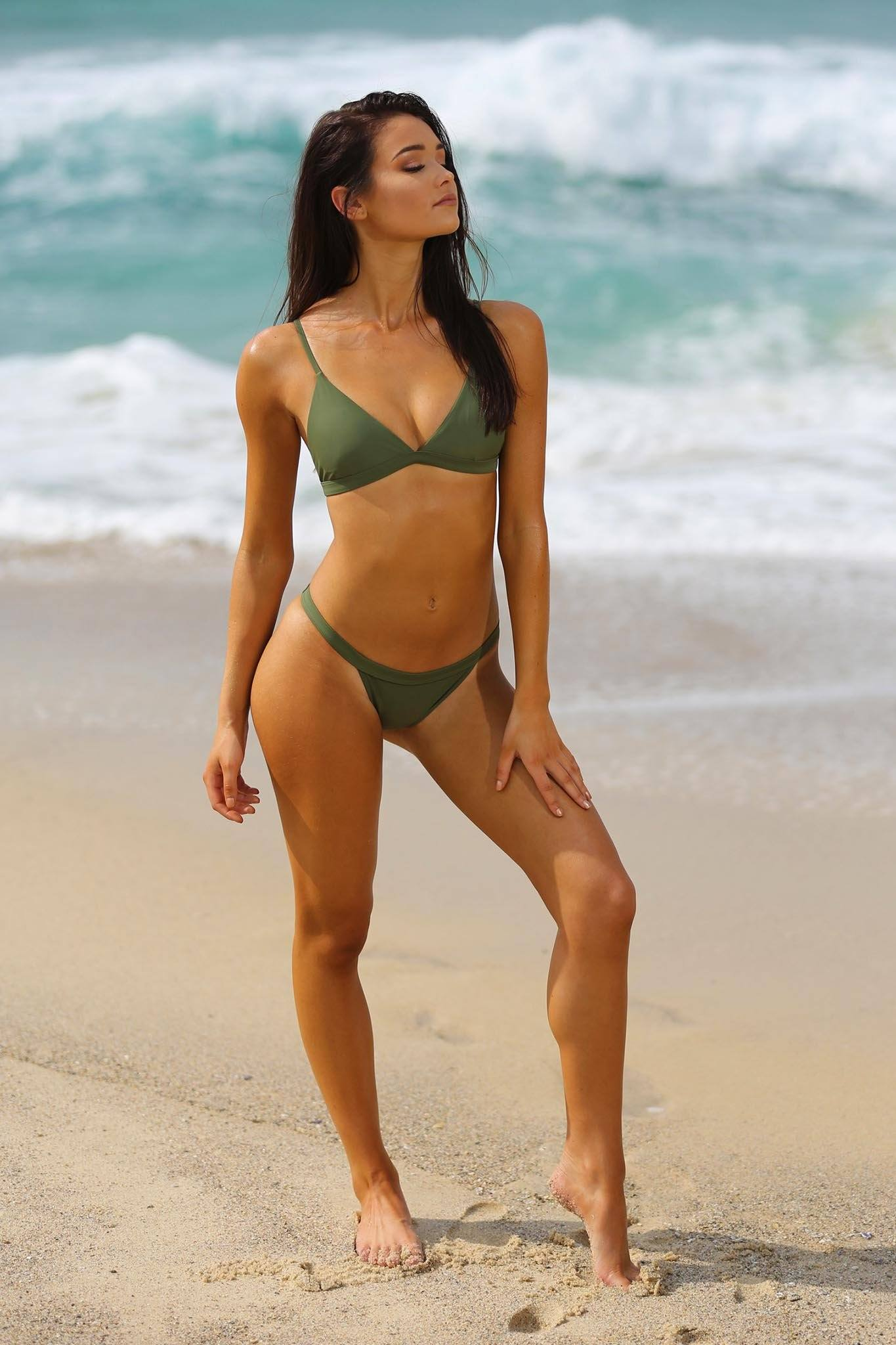 Khaki green bikini set with v neck mini bra top and high cut bottom