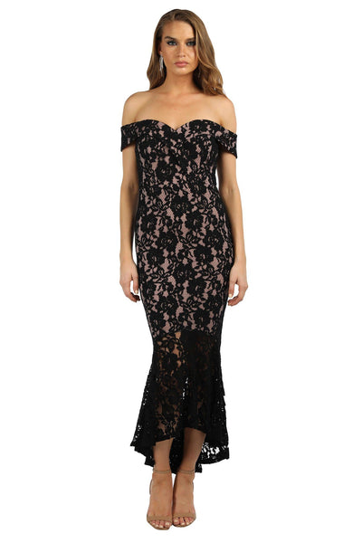 Bonita Lace Peplum Dress - Black/Pink