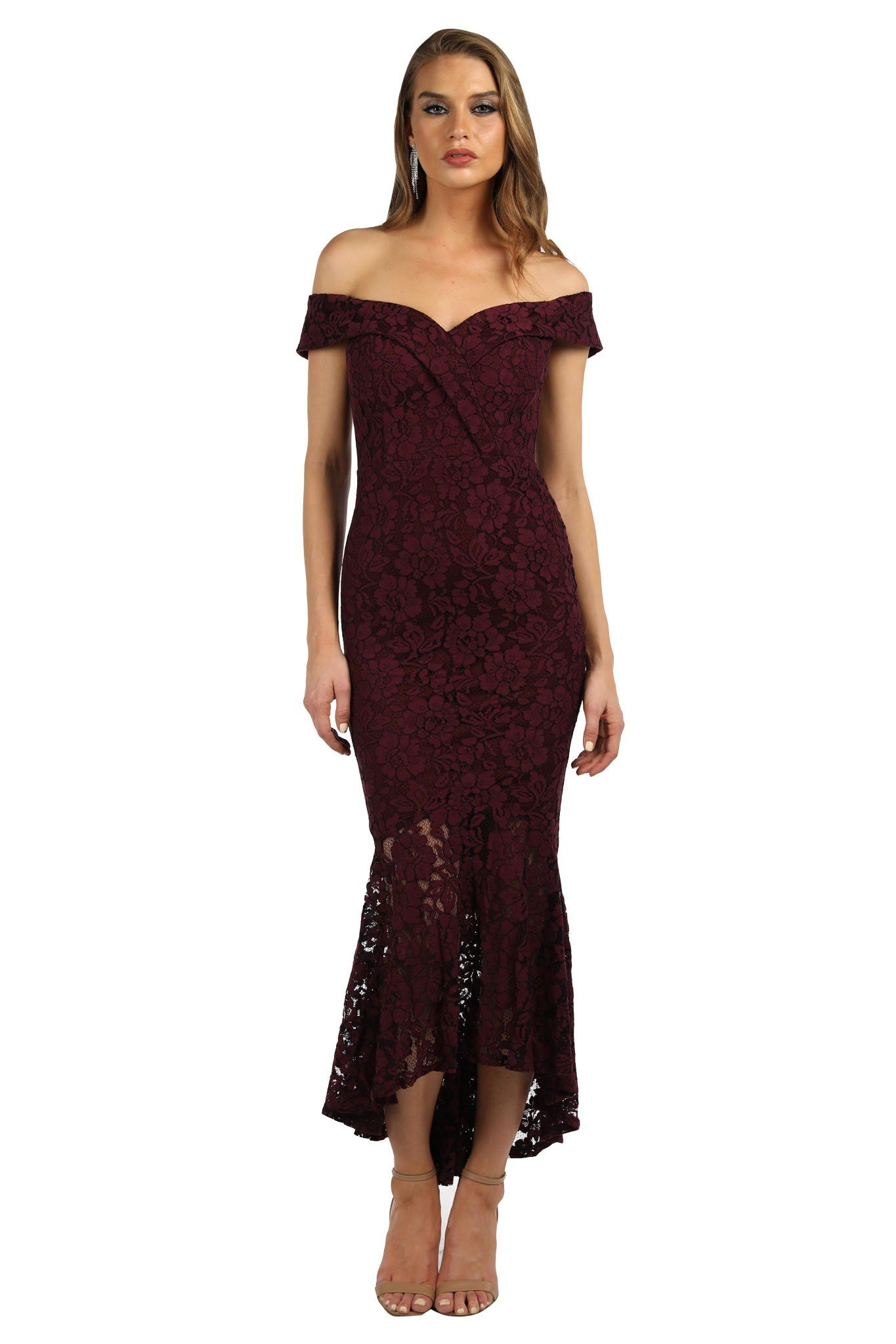 Burgundy colored lace dress featuring off-shoulder neckline with cap sleeves, sweetheart neckline, fitted bodice and high low fishtail skirt