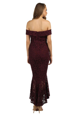 Bonita Lace Peplum Dress - Burgundy