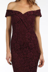 Bonita Lace Fishtail Dress - Burgundy