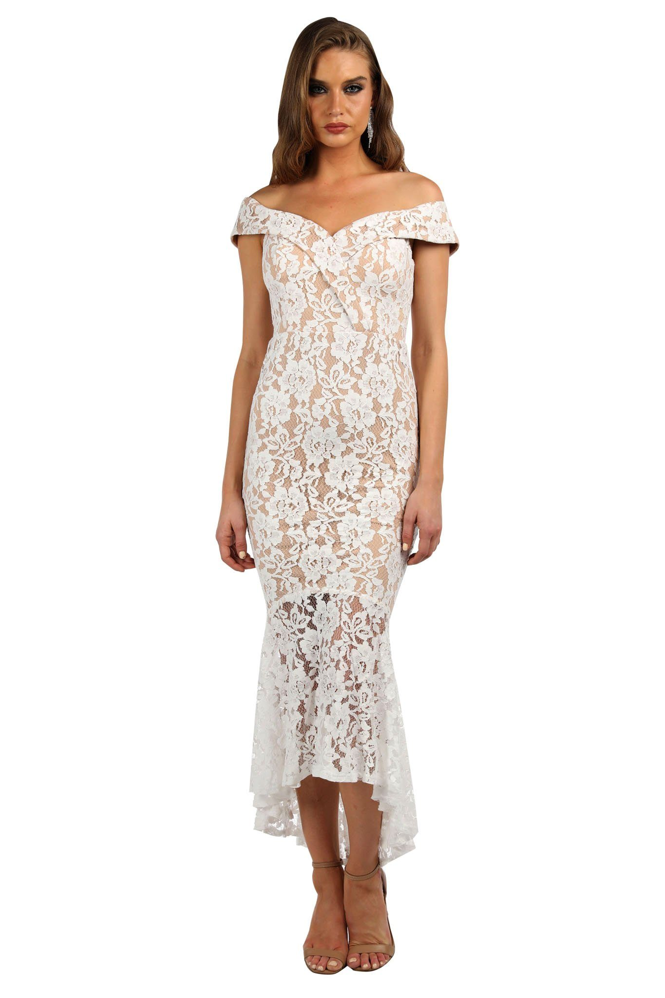 White lace dress with nude lining, off-shoulder neckline with cap sleeves, sweetheart neckline, fitted bodice and high low peplum hem skirt