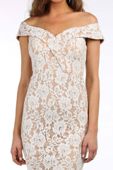 Bonita Lace Peplum Dress - White/Beige