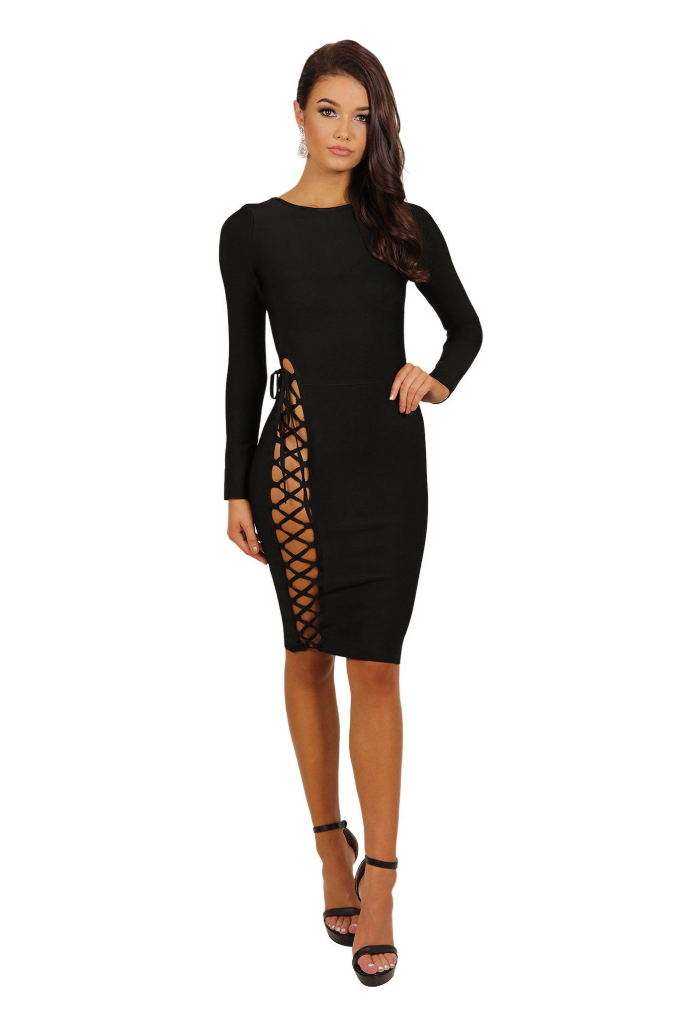 Front of long sleeve knee length form fitted bandage dress with side lace up design from waist to hem in black