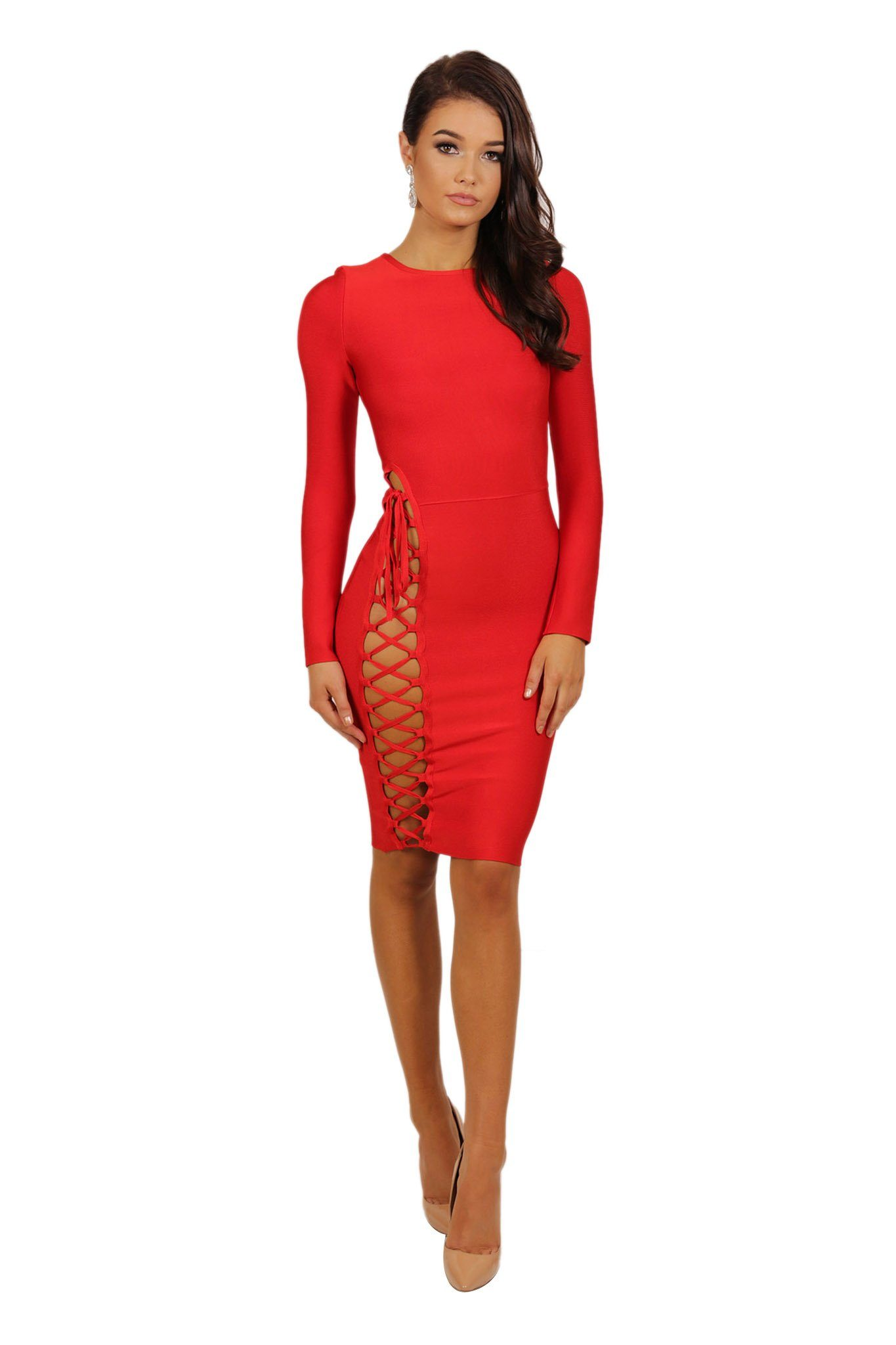 c49c88a9a9 Front of long sleeve knee length form fitted bandage dress with side lace up  design from