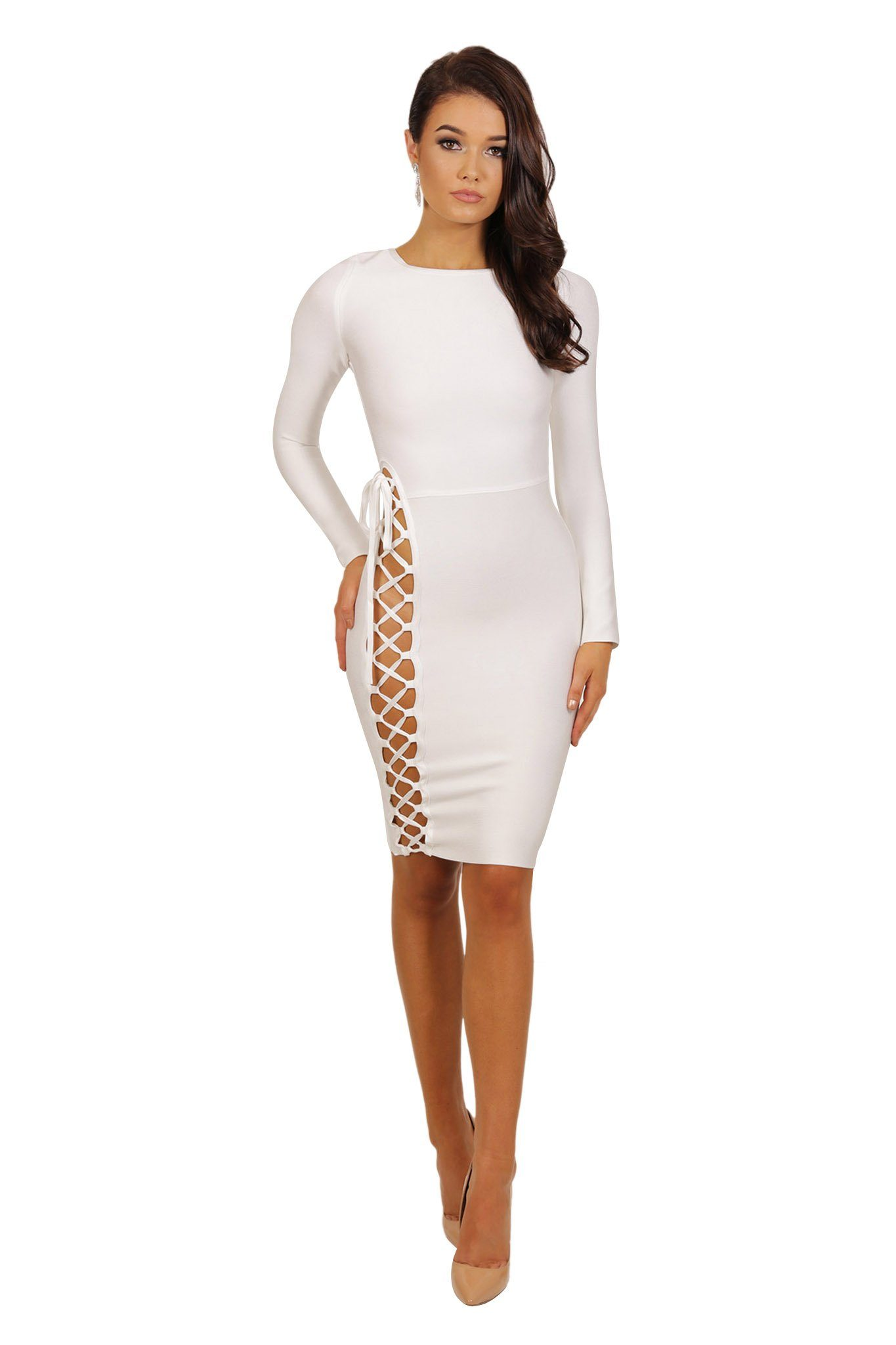 Front of long sleeve knee length form fitted bandage dress with side lace up design from waist to hem in white
