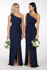 Bridesmaids in Maxi-Length Dress with Asymmetrical One Shoulder Neckline, Ruched Waist, Above Knee High Slit, and a Column Styled Silhouette in Navy Colour