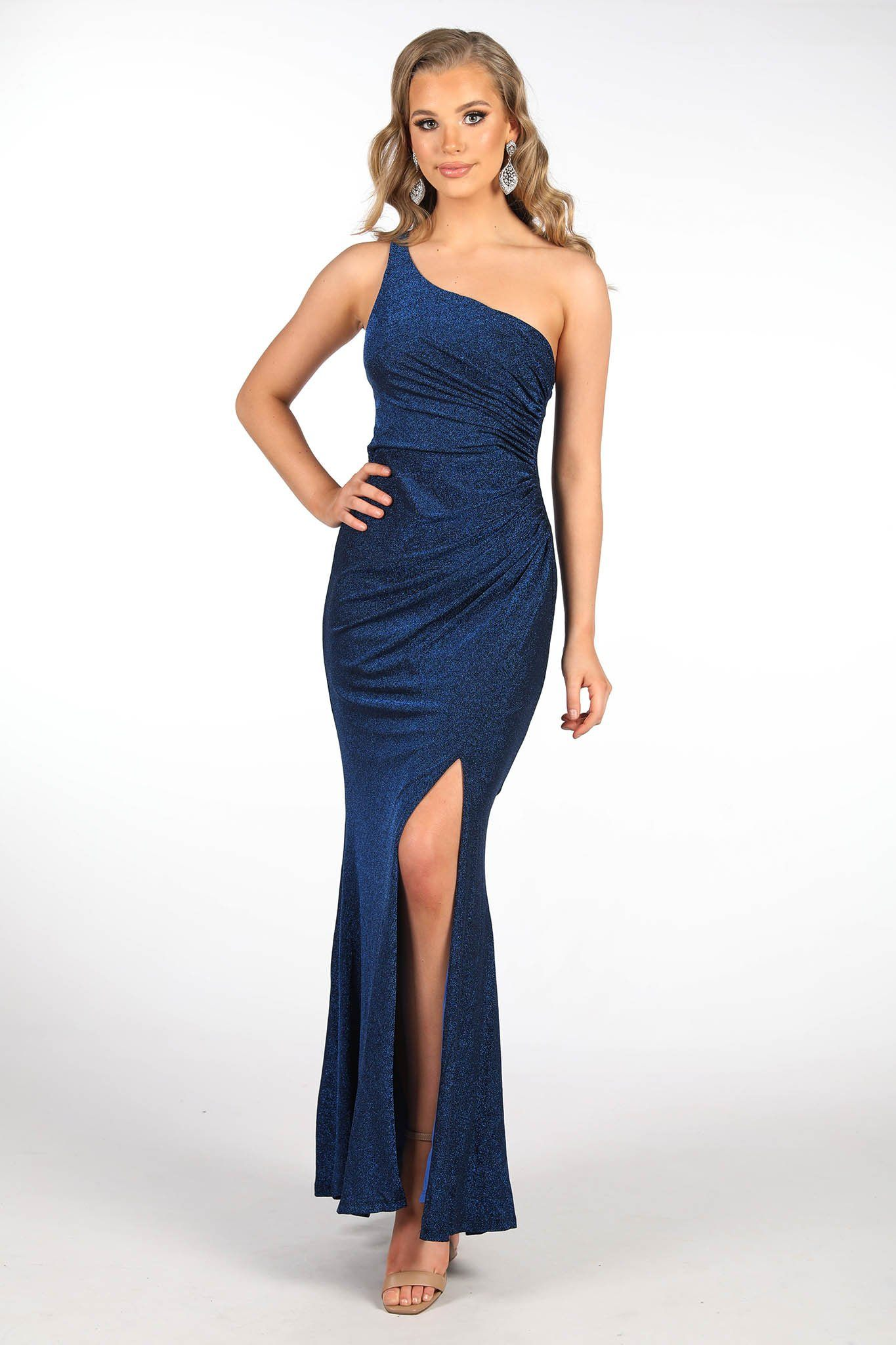 Shimmer blue maxi dress featuring asymmetrical one shoulder neckline, a bodycon fit with gathering detail at the front and thigh-high leg slit