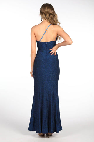CALI One Shoulder Maxi Dress - Shimmer Blue