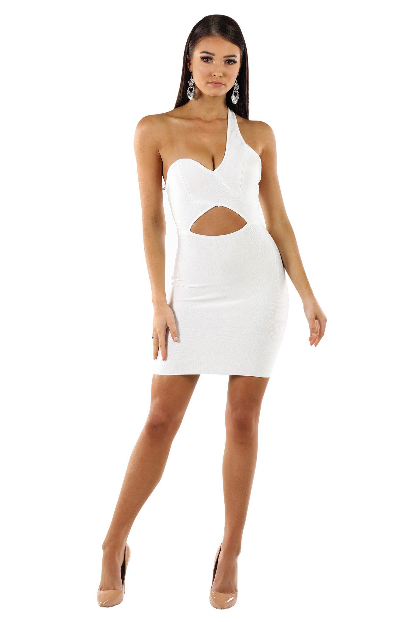 White sleeveless above-knee length bandage dress one shoulder strap and cutout