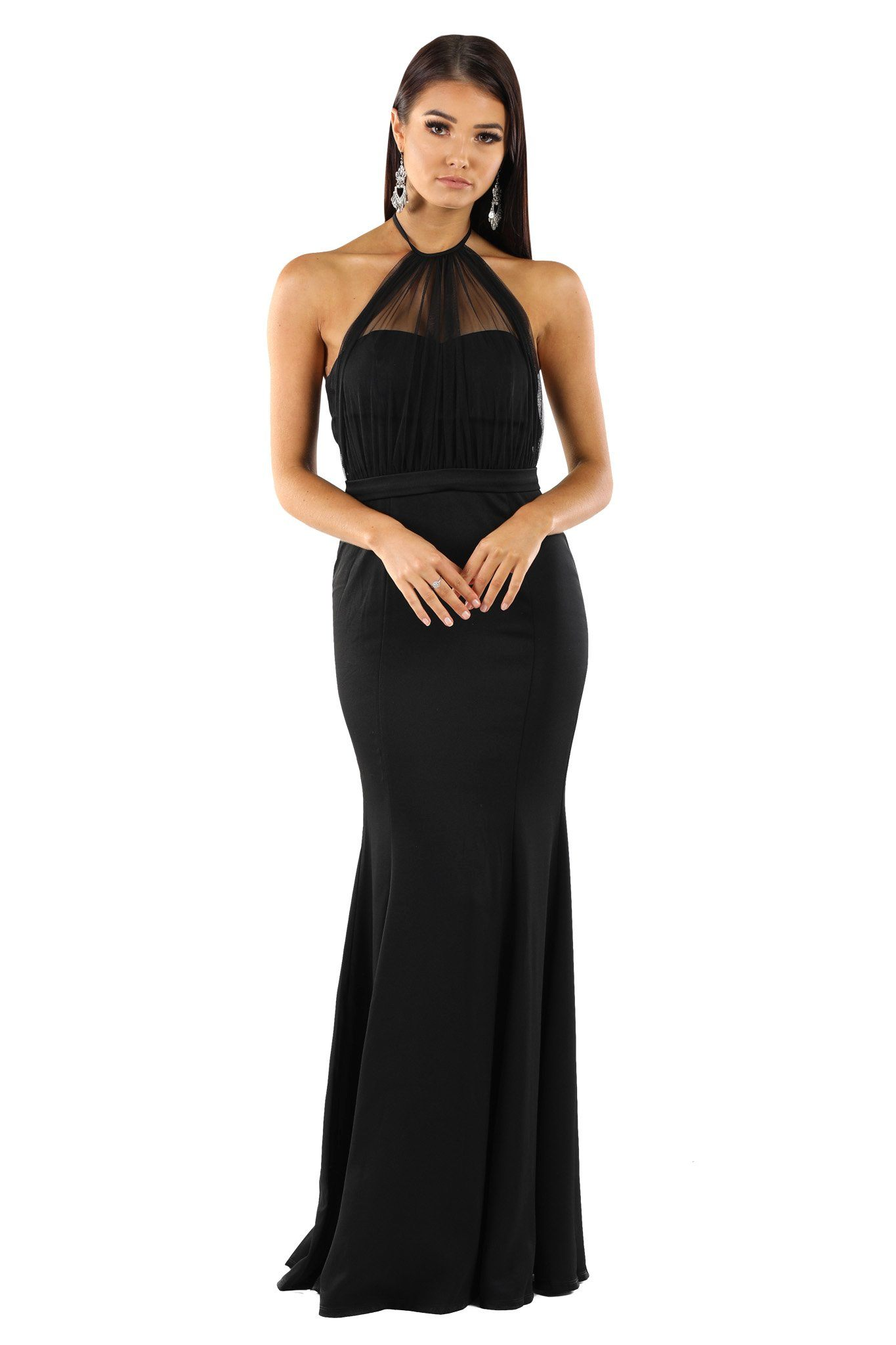 216e1708359 Black sleeveless maxi floor length dress with draped chiffon top over  strapless sweetheart bodice