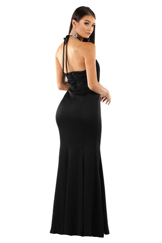 Cecilia Draped Top Maxi Dress - Black
