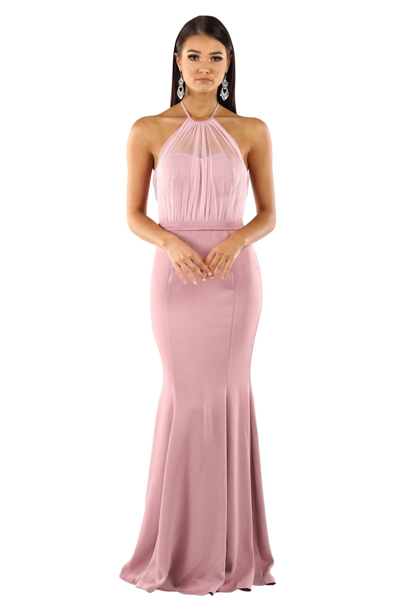 Blush dusty pink sleeveless maxi floor length dress with draped chiffon top over strapless sweetheart bodice, halter-neck strings, open back, fitted silhouette and gently flared skirt