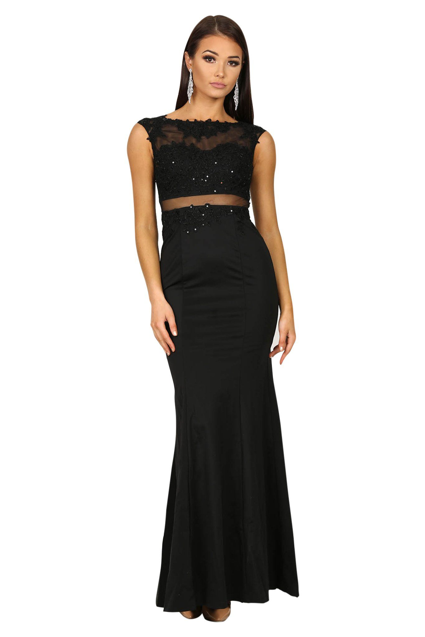 Black fitted maxi dress with lace detailing on sheer mesh and slightly flared skirt