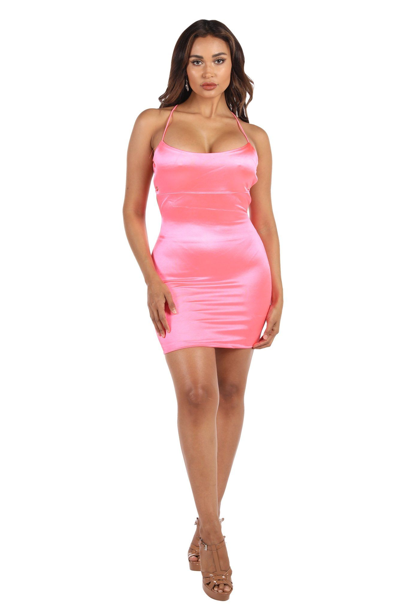 Tight Neon Hot Pink Mini Dress with Lace Up Back Design