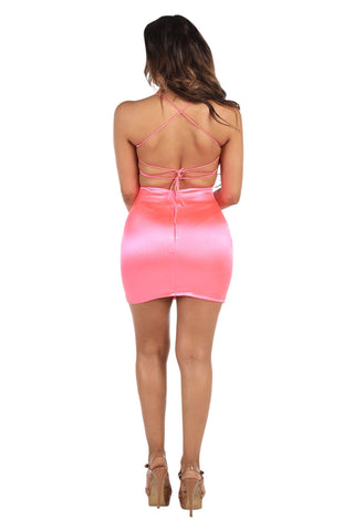 Carlie Lace Up Mini Dress - Neon Pink