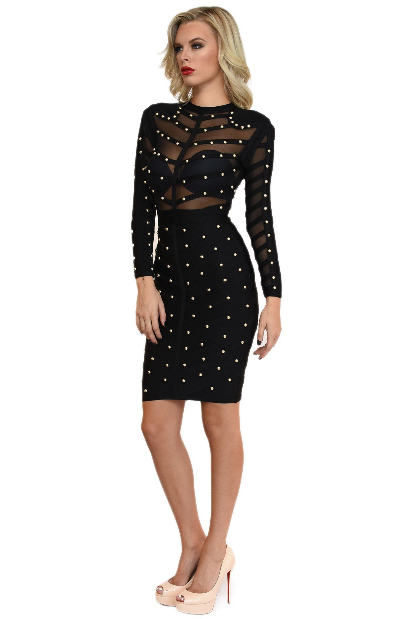 Side of black long sleeve midi bandage dress featuring gold beading details and sheer mesh