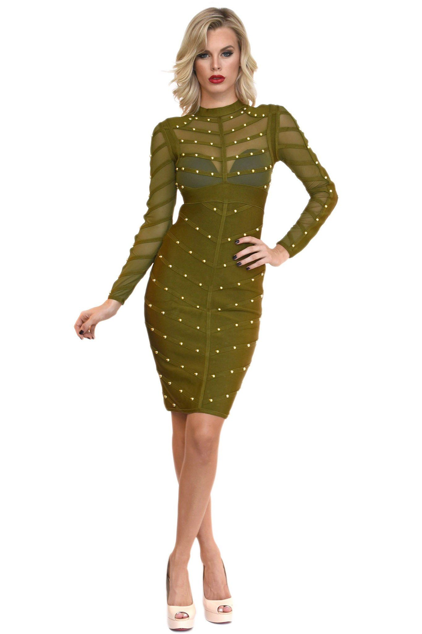 Front of olive green long sleeve bandage dress featuring sheer mesh and gold beads