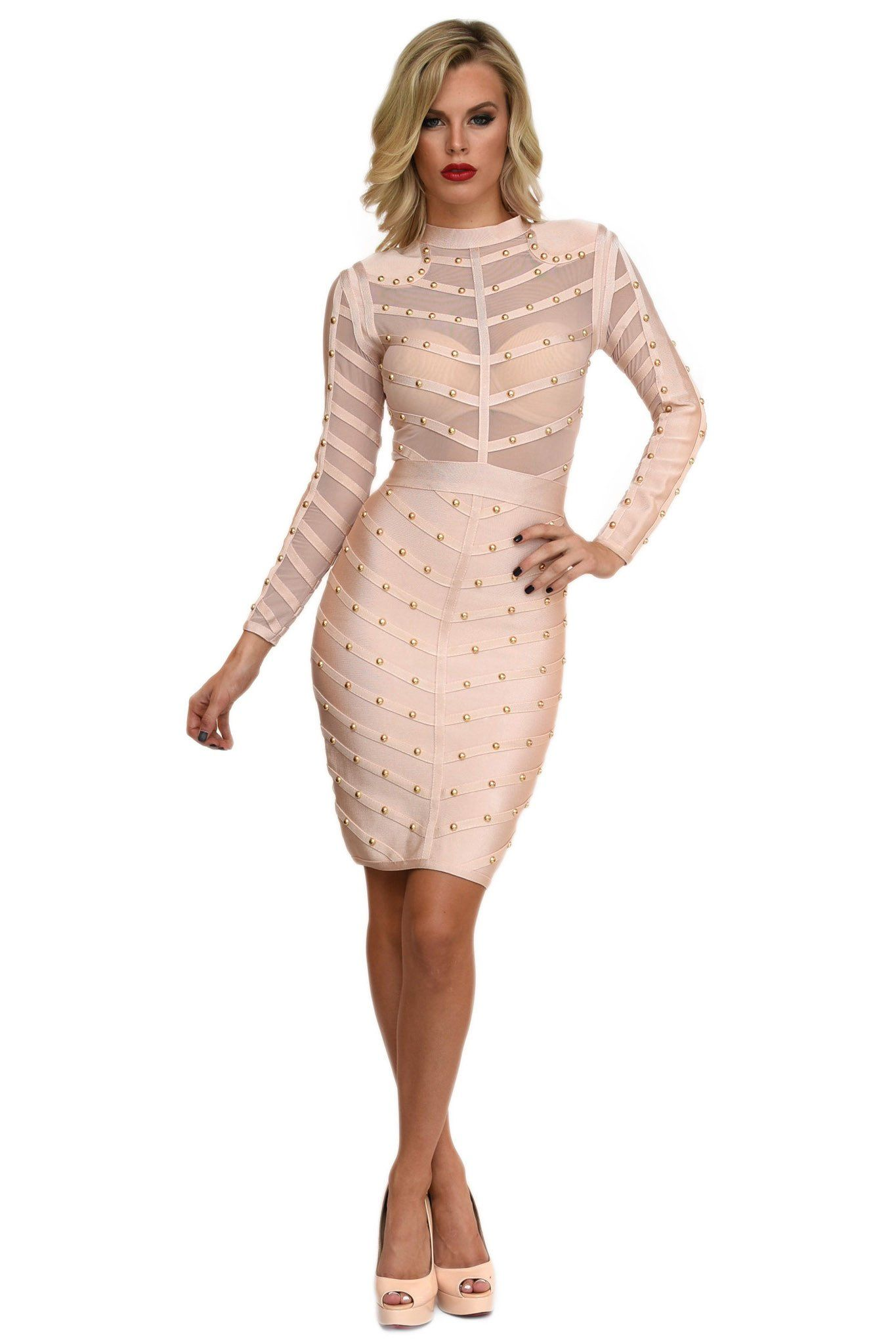 Front of beige long sleeve midi bandage dress featuring gold beading details and sheer mesh