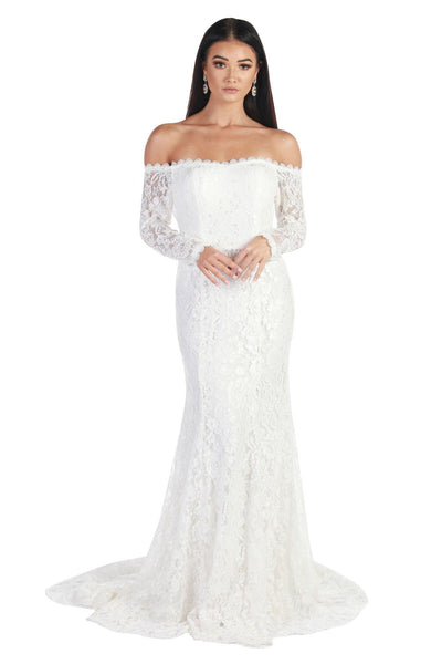Caroline Off The Shoulder Long Sleeve Lace Gown - White