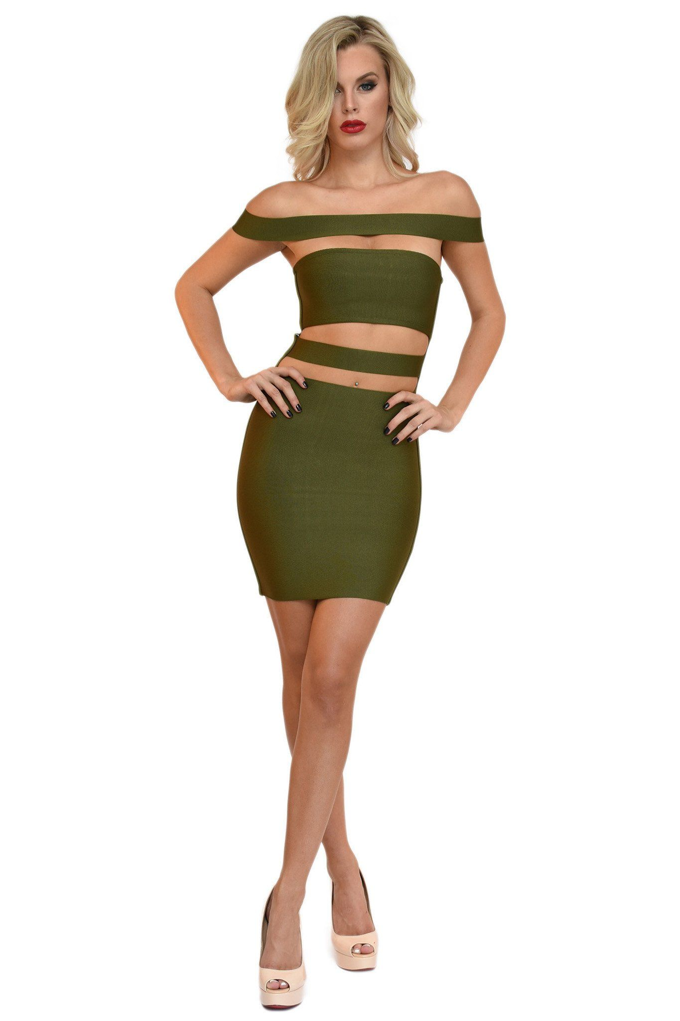 Front of olive green kylie jenner inspired mini bandage dress with off shoulder band and cutout at stomach
