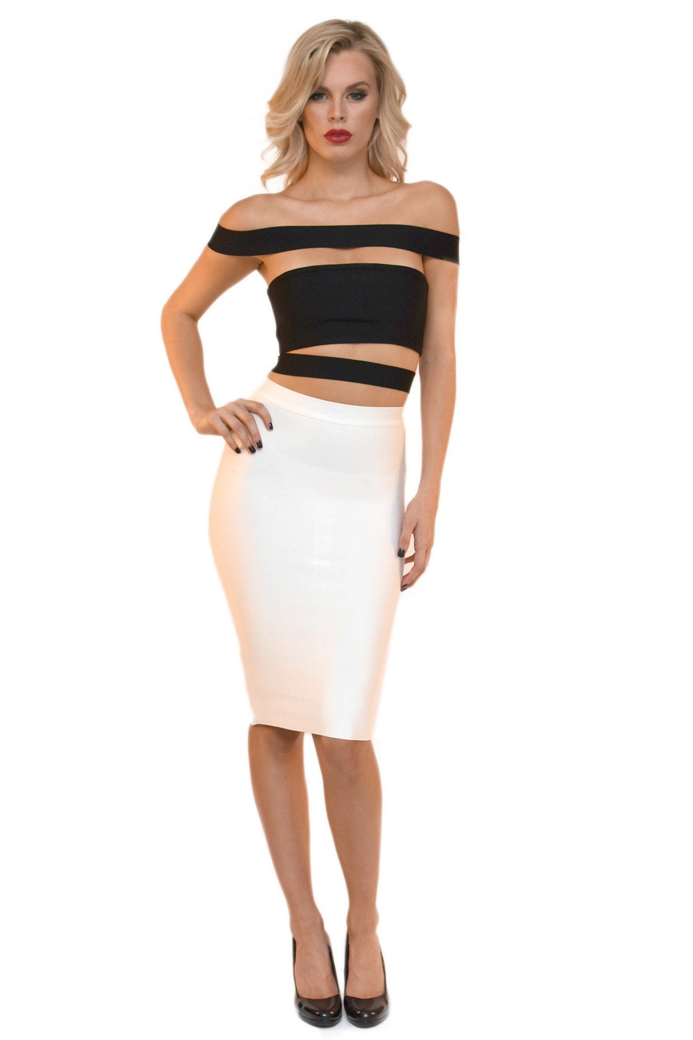 Front of black bandage top featuring off-shoulder panel design and stylish cutouts