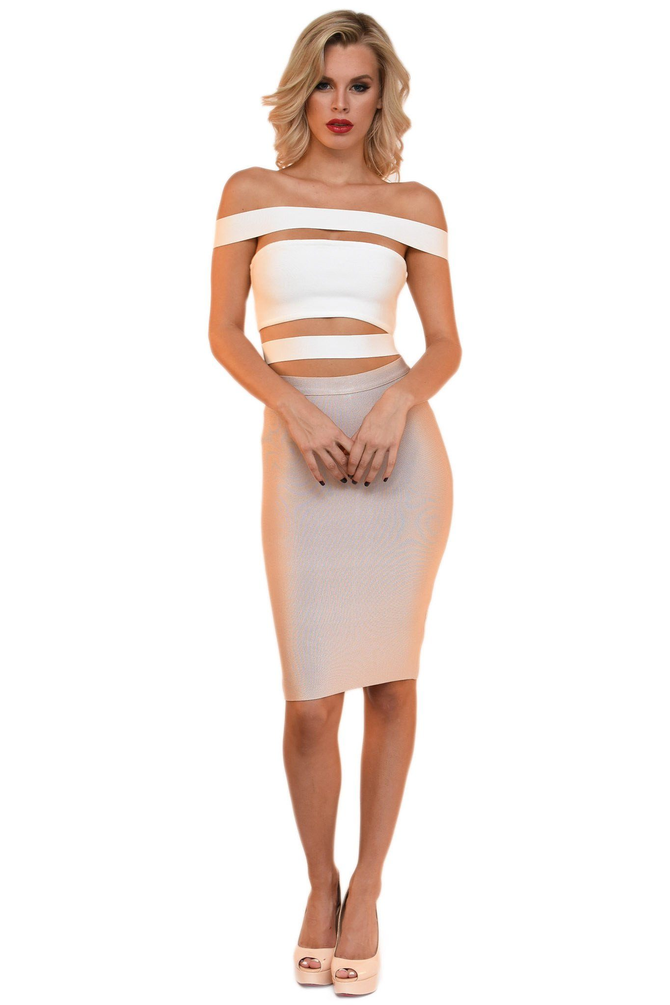 Front of white bandage top featuring off-shoulder panel design and stylish cutouts