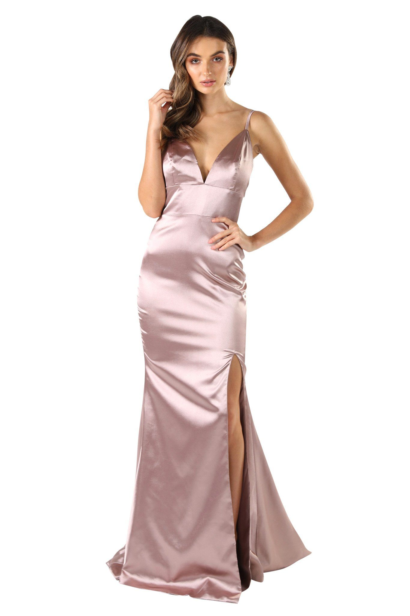 Champagne sleeveless satin formal long gown with thin shoulder straps, front thigh high slit, open back design and a long train
