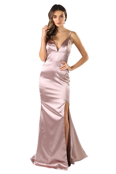 Caterina Front Slit Satin Gown - Champagne