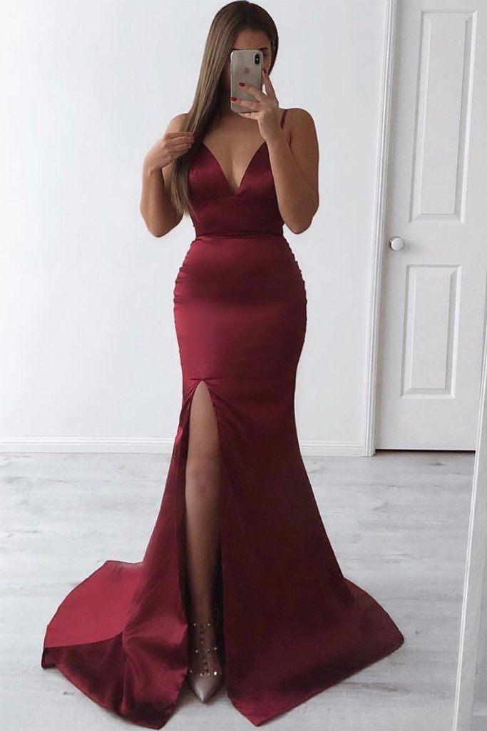 de99c3b8720055 Deep red burgundy sleeveless satin formal long gown with thin shoulder  straps