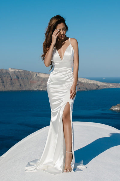 Caterina Front Slit Satin Gown - Ivory
