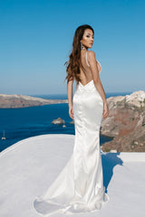 Backless Design of Ivory White Full Length Satin Gown with V Neckline, Front Left Leg Slit and Sweep Train