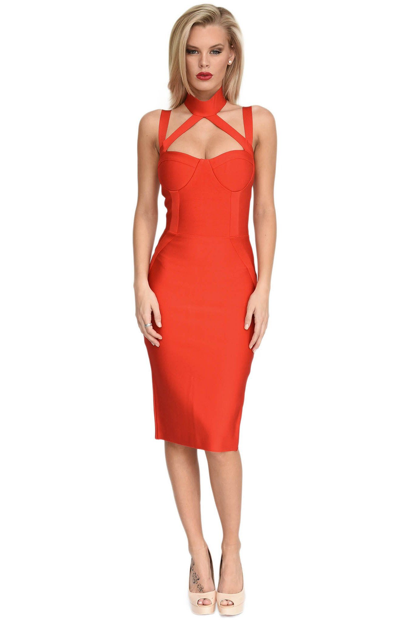 Front of red midi bandage dress featuring halter, turtleneck, sweetheart neck and shoulder straps