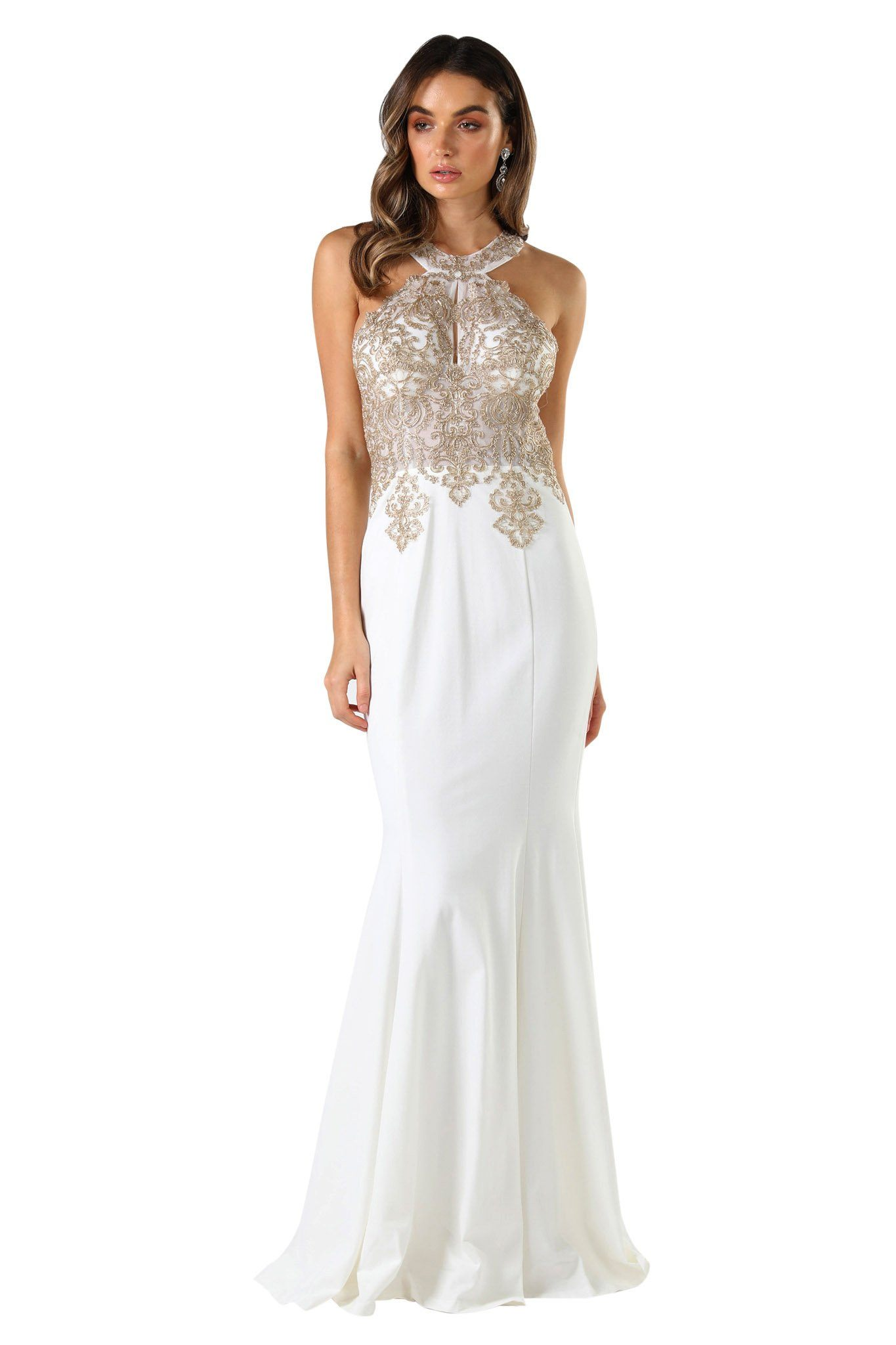 White sleeveless long gown with gold embroidery details, racer back design, slight mermaid silhouette
