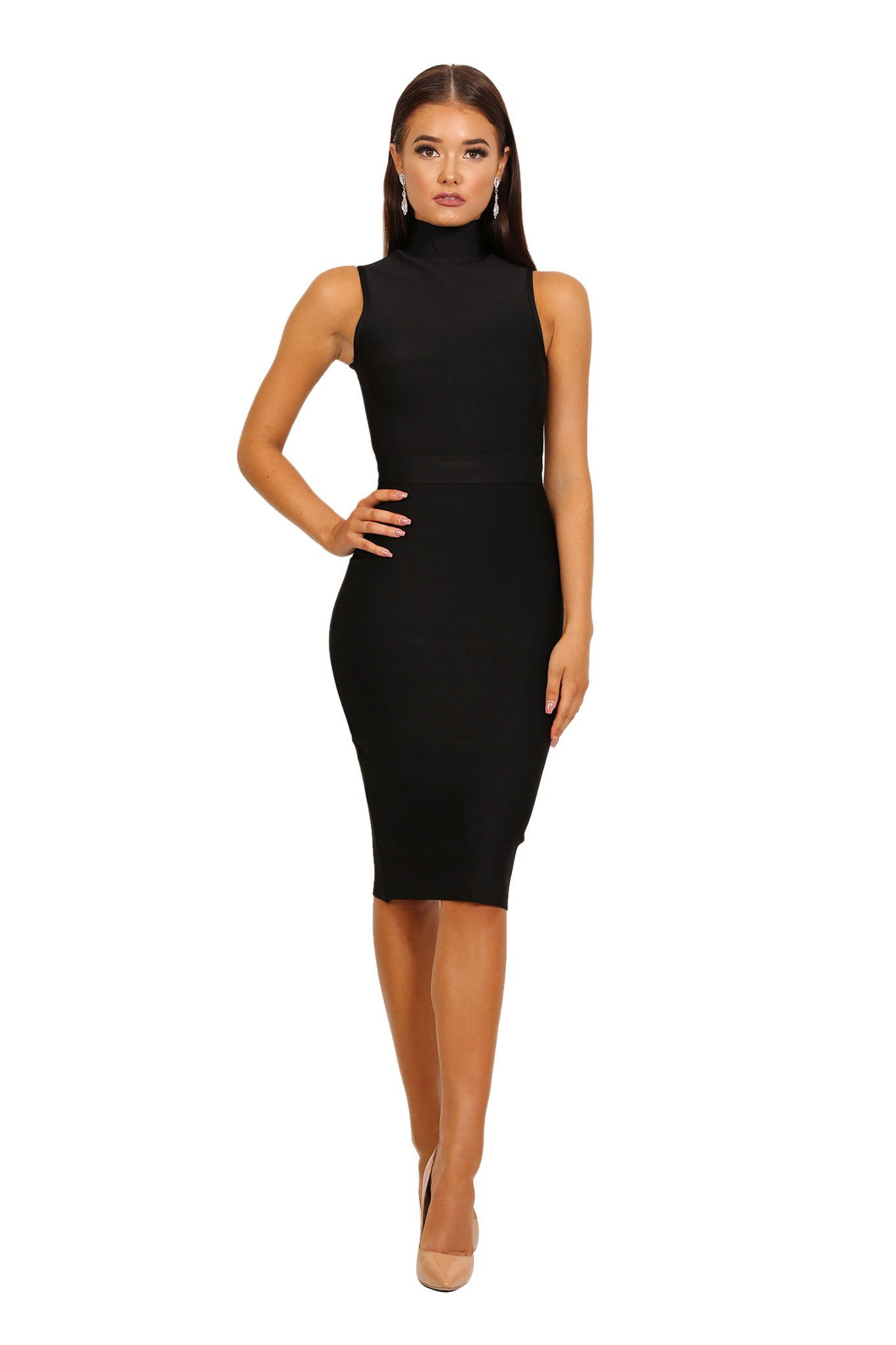 Black high neck sleeveless tight fitted knee length bandage dress