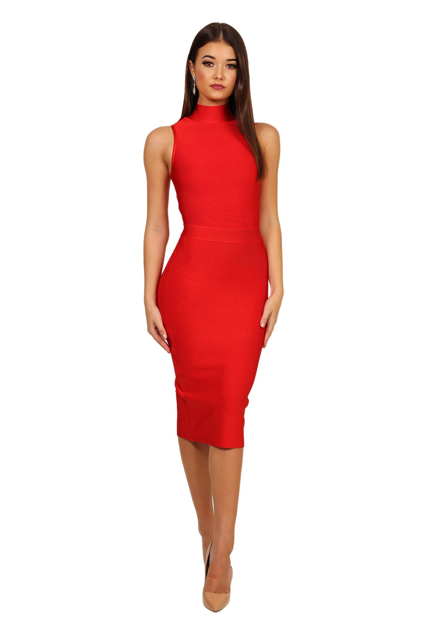 Front of red high neck design sleeveless midi knee length form fitted bandage dress