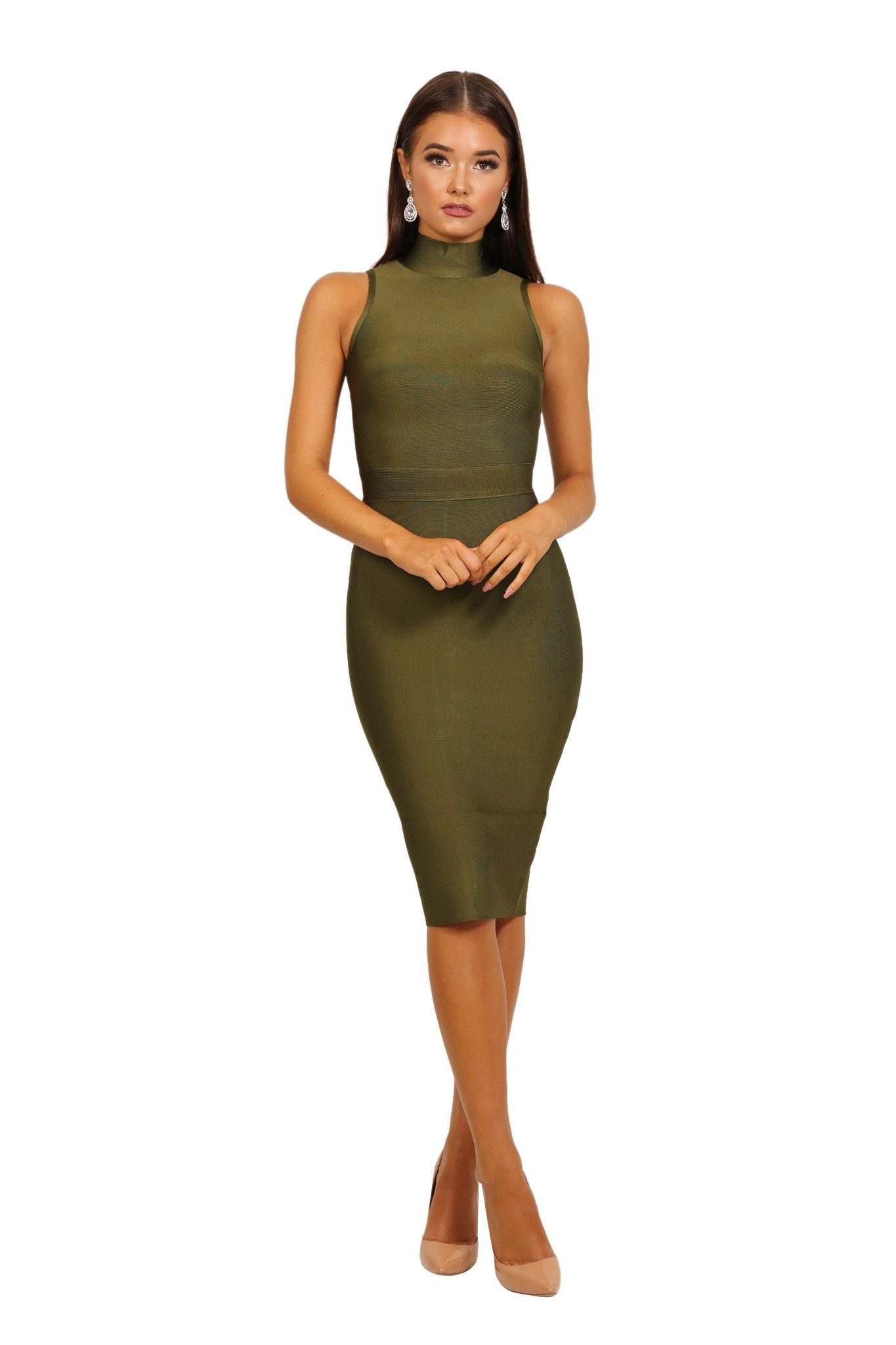 ff50010bb9aae6 Olive green colored high neck sleeveless tight fitted knee length bandage  dress