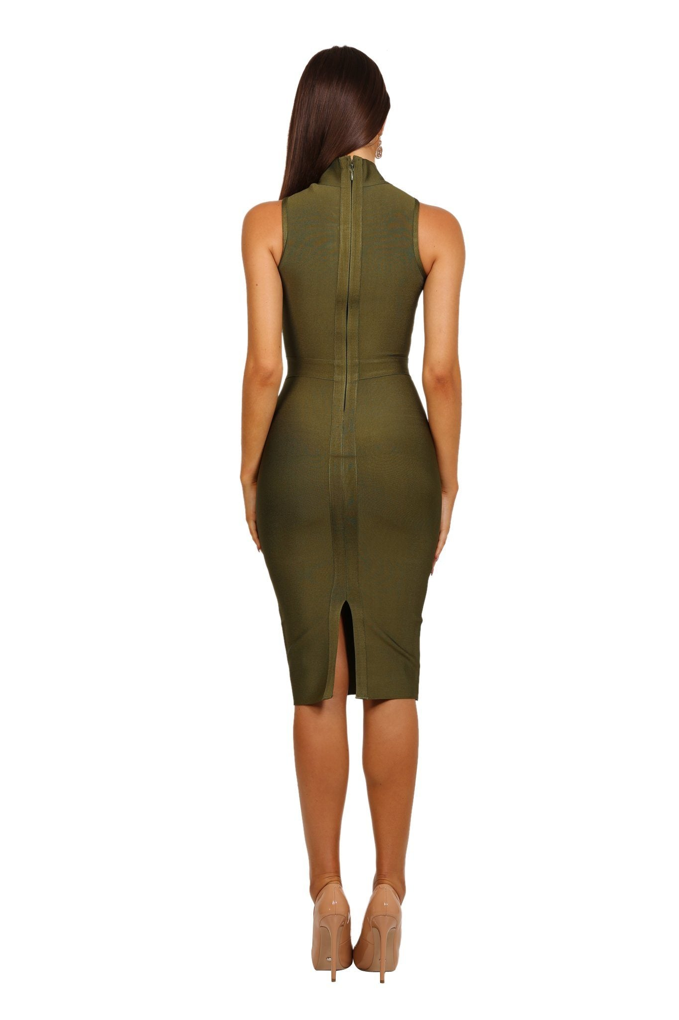 890ea737bc0b20 ... Back shot of Olive green colored high neck sleeveless tight fitted knee  length bandage dress ...
