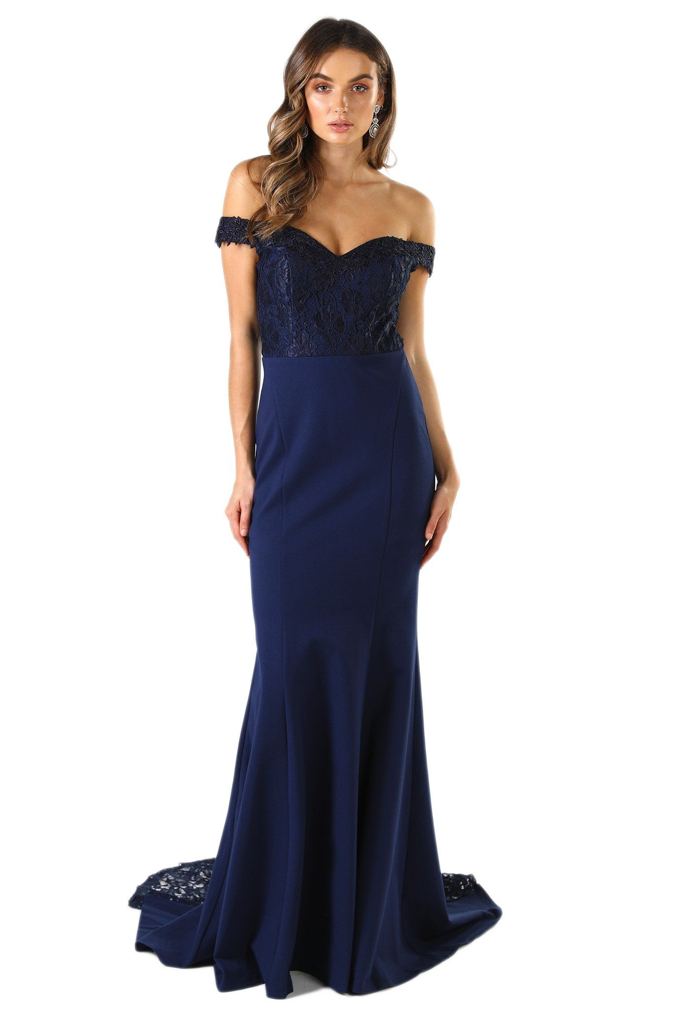 Navy Dark Blue Floor Length Formal Dress in Open Off The Shoulder Design, Lace Bodice and Lace Godet Train