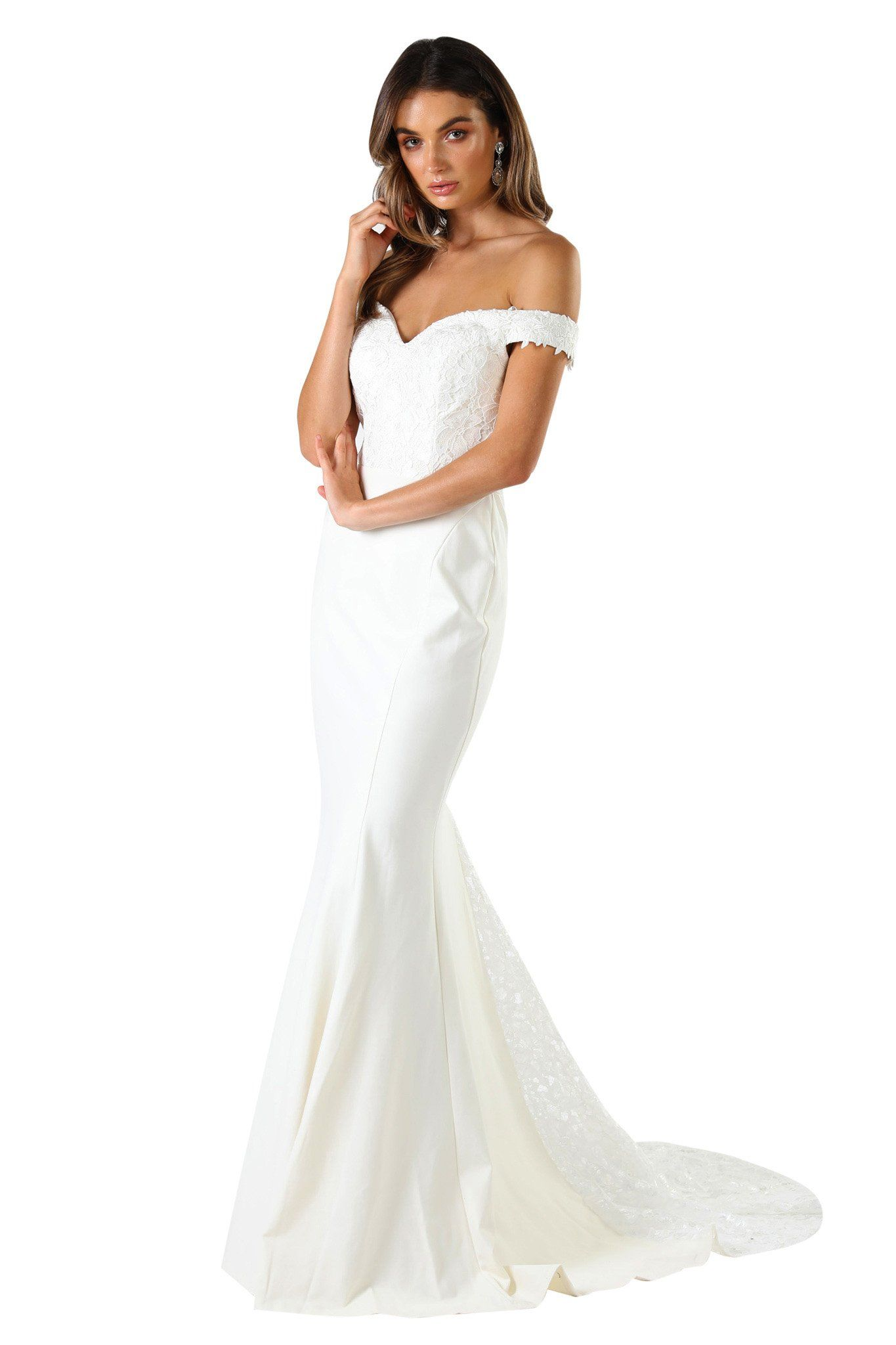White Floor Length Dress in Open Off The Shoulder Design, Lace Bodice and Lace Godet Train