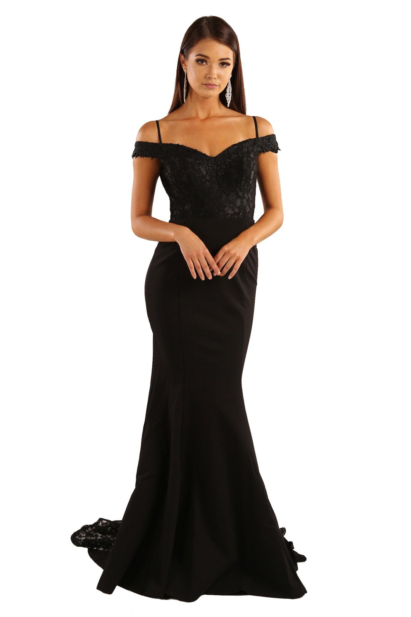 Off the shoulder evening long gown in black color with sweetheart neckline and lace trim details at the upper body and along the flowing trail