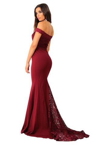 Charlot Lace Gown - Wine