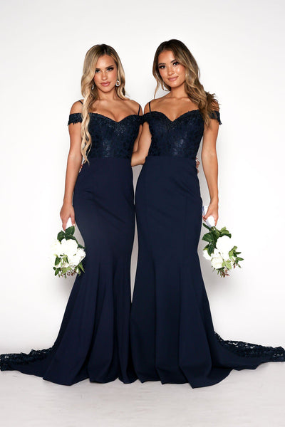 Charlot Lace Gown - Navy