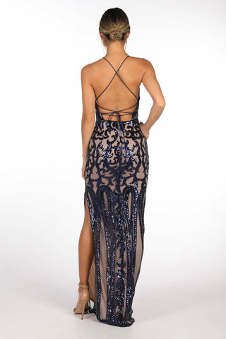 Chelsea Pattern Sequin Column Maxi Dress - Navy