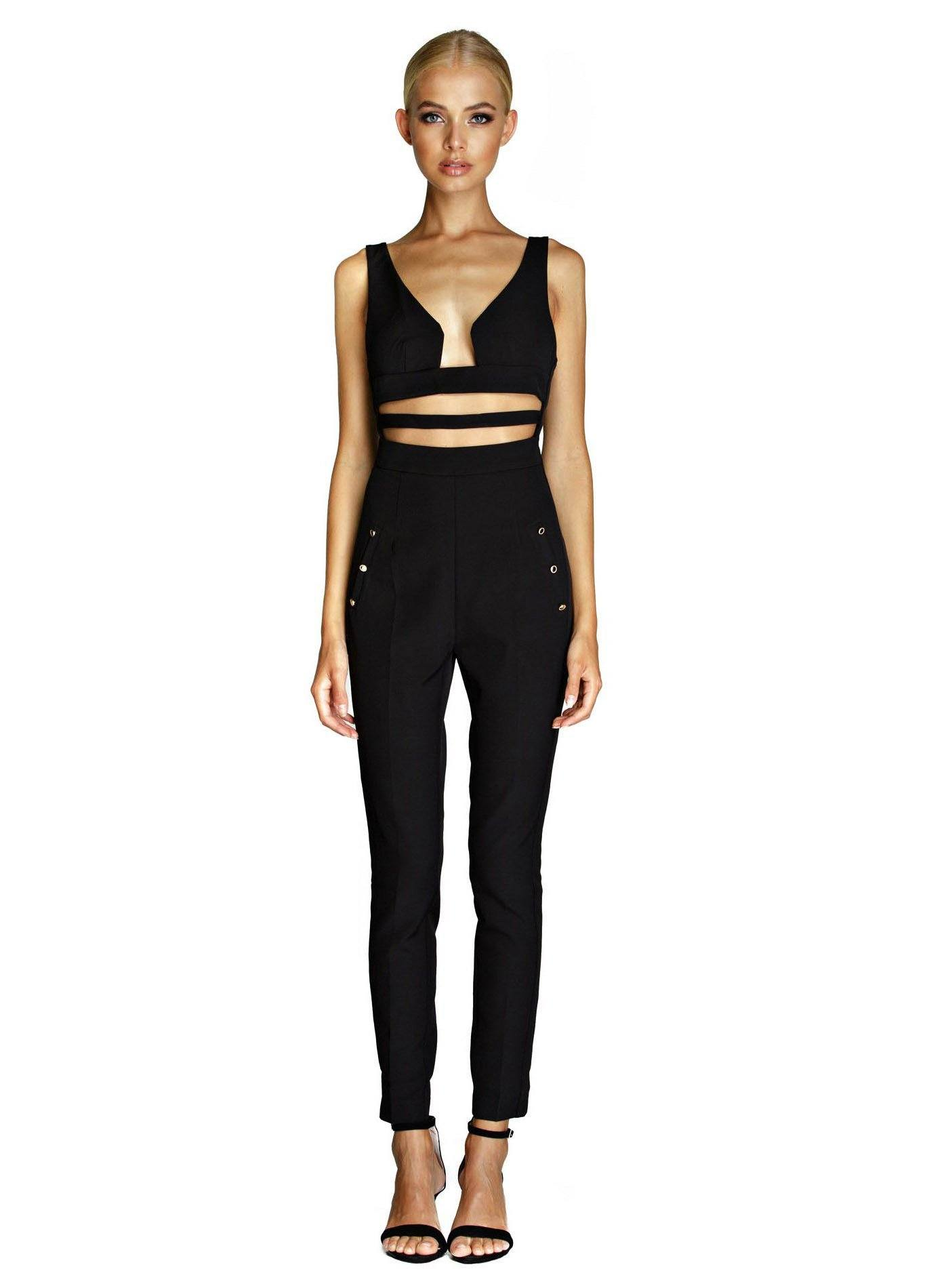 Designer black sleeveless jumpsuit with V neck, waist cutout design, skinny legs and gold buckles