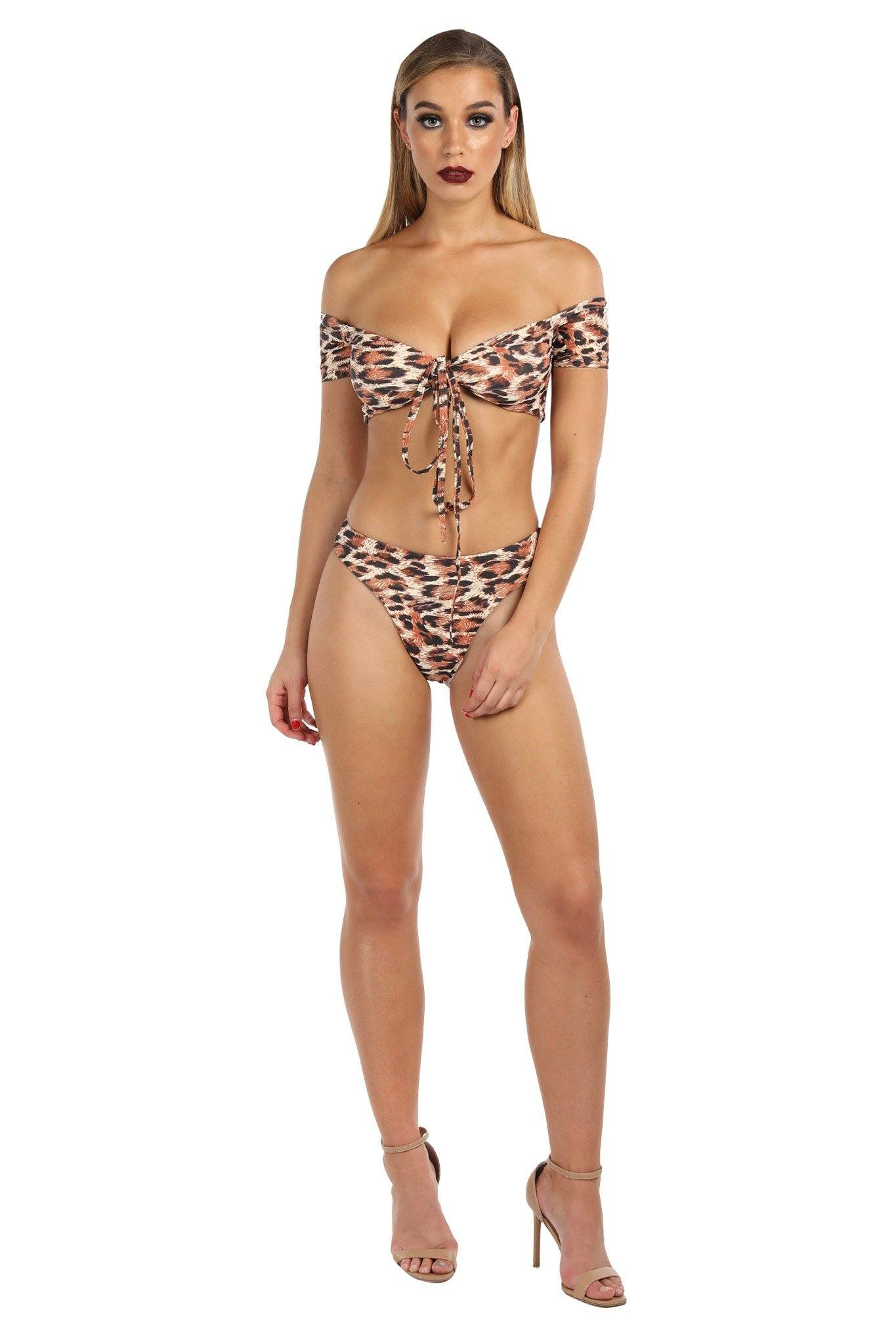 Leopard-print bikini set including off-shoulder bikini top with cap sleeves and cheeky bikini bottom
