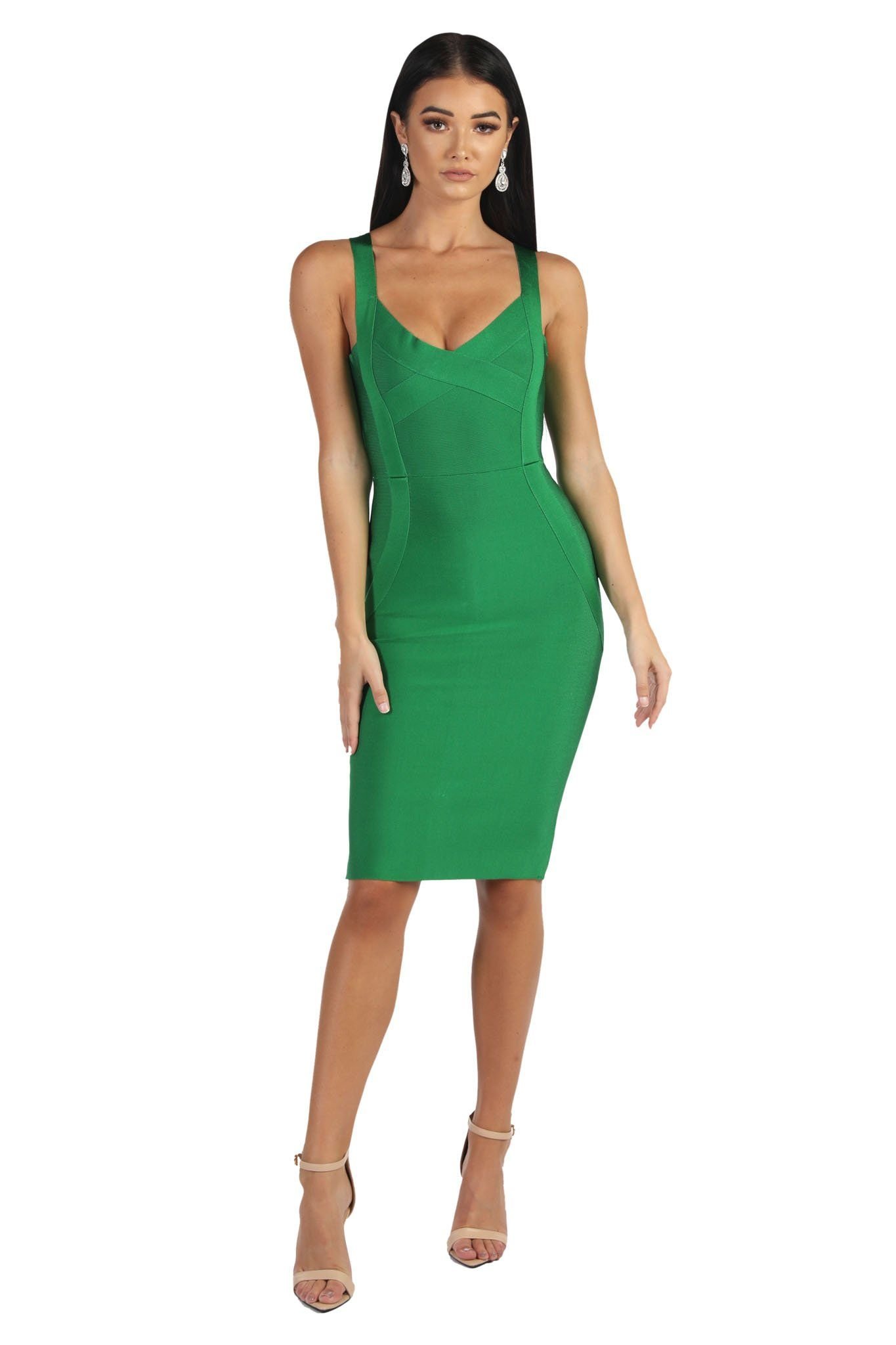 Green V Neck Sleeveless Midi Knee Length Bandage Dress with Shoulder Straps
